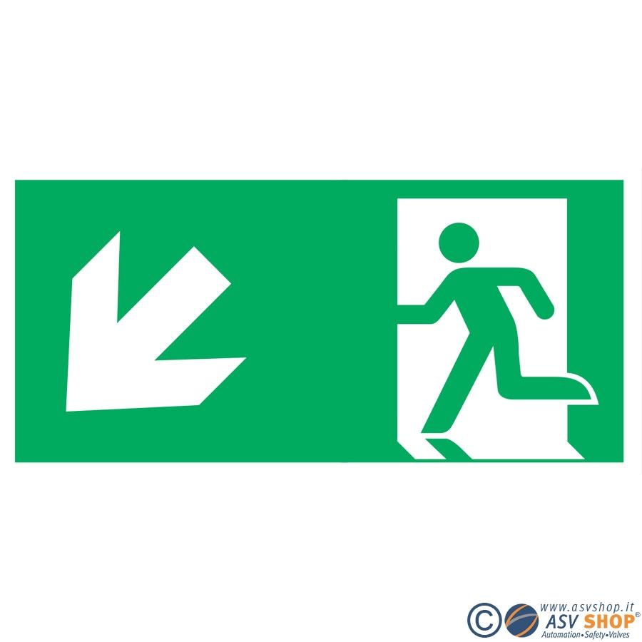 Simbolo via di fuga in basso a sinistra