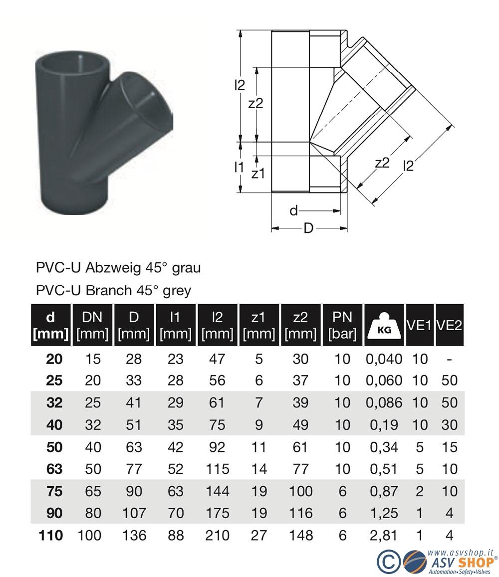 dimensionale T 45° PVC