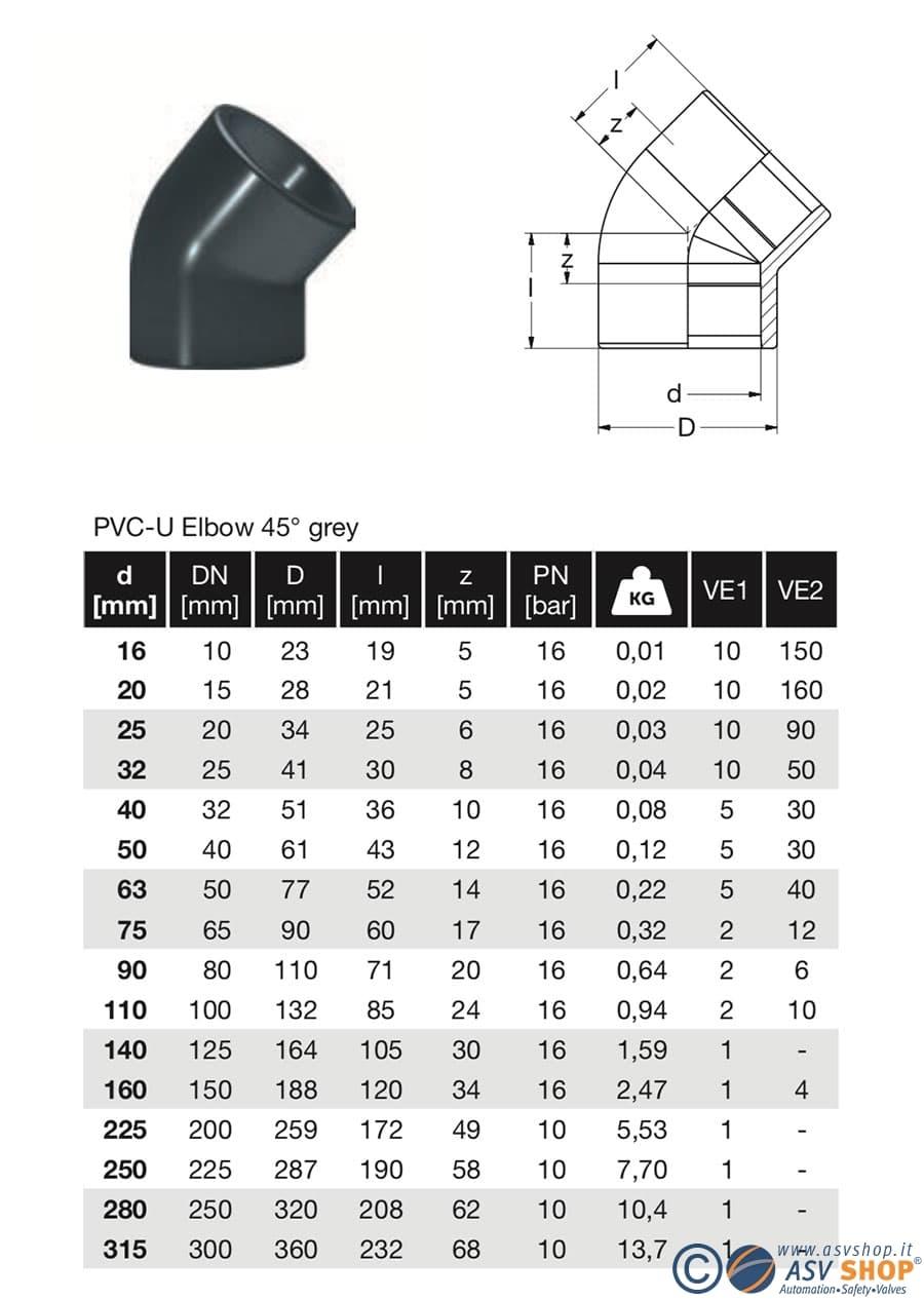 gomito in PVC-U 45° disegno