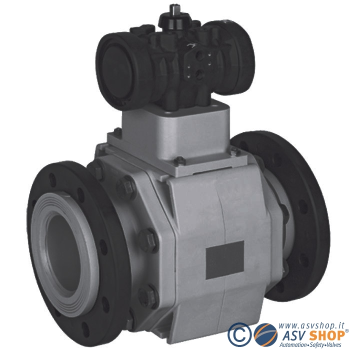 Valvola a sfera in PVC C 110 con attuatore pneumatico