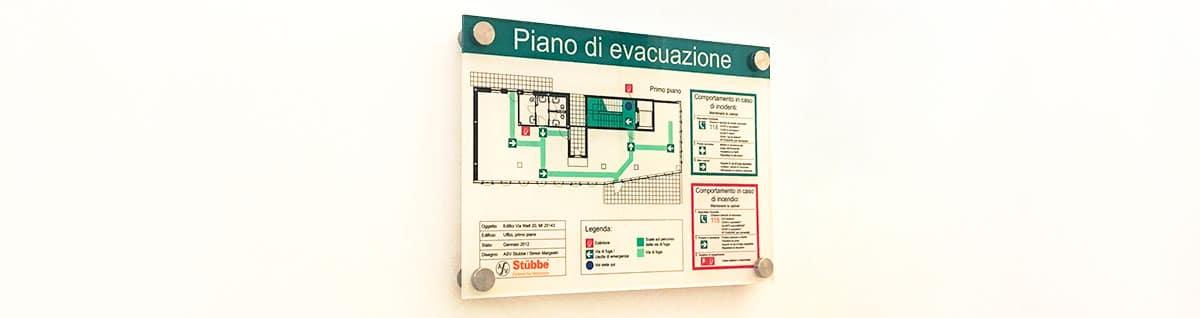piantina con piano di fuga