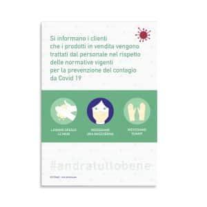 Cartello COVID: prodotti trattati nel rispetto delle normative